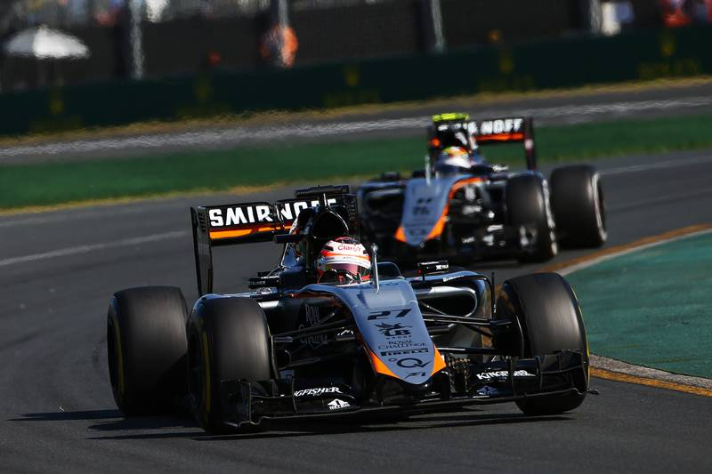 Nico Hulkenberg (GER) Sahara Force India F1 VJM08 leads team mate Sergio Perez (MEX) Sahara Force India F1 VJM08.